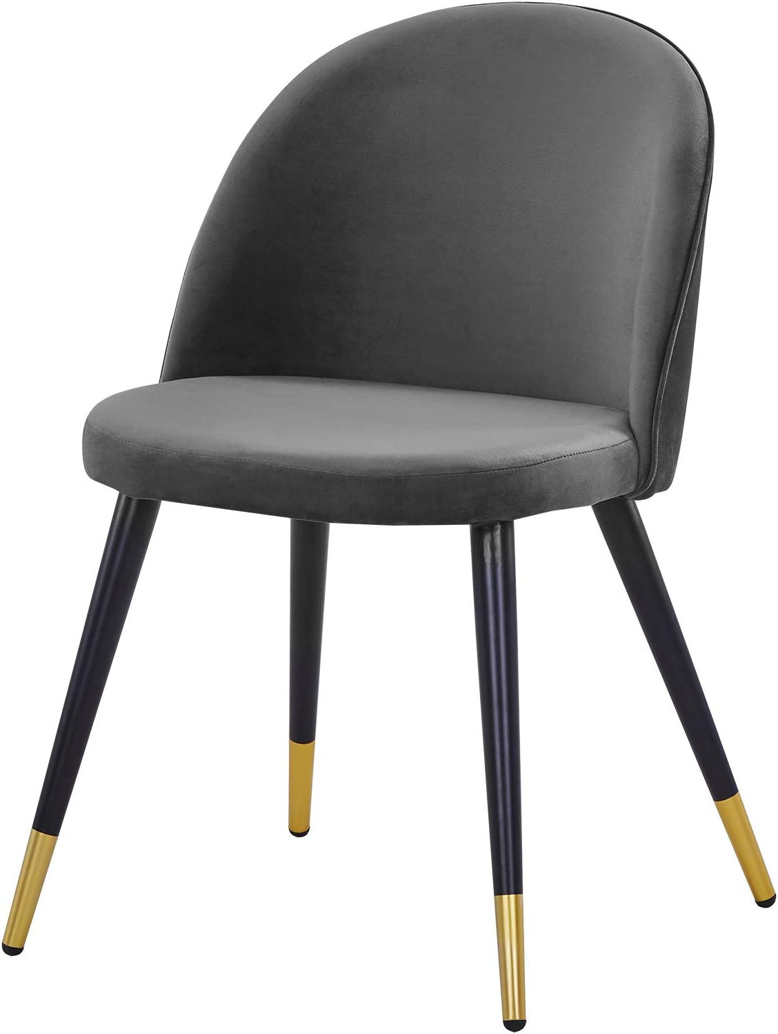 EUGAD Dining Room Chairs Set of 2 PCS Kitchen Chairs Dark Grey with Back Support and Soft Velvet Seat Steel Legs Living Room Chairs 0327BY-2