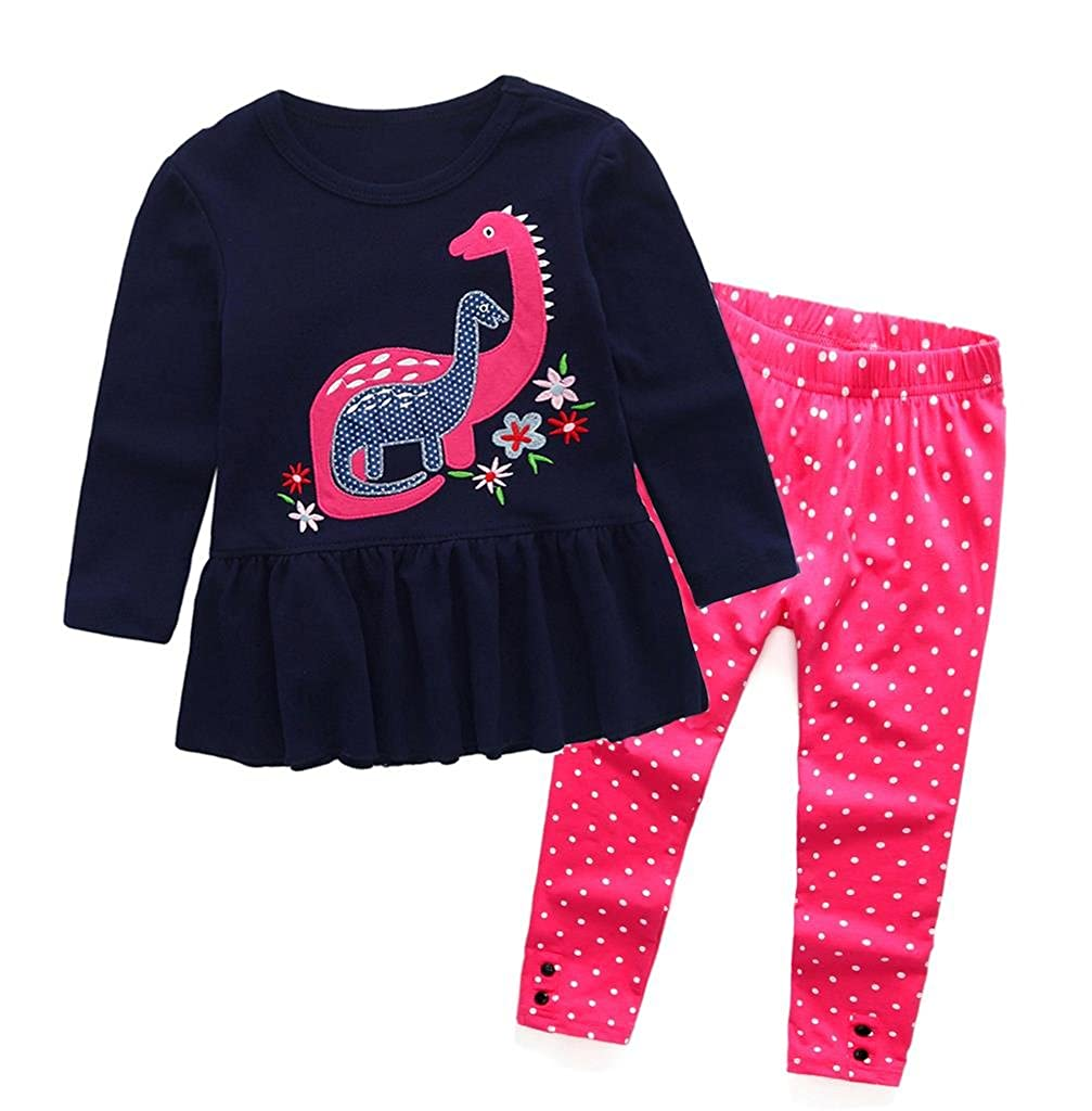 Coralup Little Girls Long Sleeve 2-Piece T-Shirt & Legging Pant Set(Applique and Embroidery Dinosaur,18 Months-6 Years)