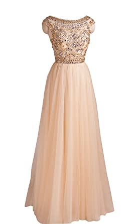 Queenworld Long Beads Cocktail Prom Dresses Evening Dresses US-6 Champagne
