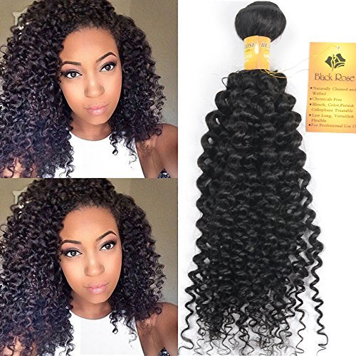 Black Rose Hair 16 inch Indian Jerry Curl Weave Human Hair Unprocessed Virgin Indian Remy Curly Hair Bundles Extensions Naturl Black Can Be Dyed and Bleached 100g/bundle