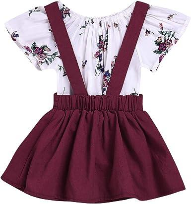 Newborn Toddler Girls Spring Dress Long Sleeve T-Shirt Suspender Polka Dot Skirt Floral Party Princess Dress for Autumn