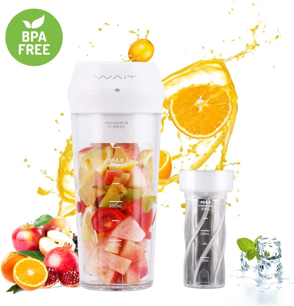 Portable Blender,Personal Blender with Filter for Shakes and Smoothie,Cordless Small Juice Cup Extractor, USB Rechargeable Juicer Detachable Fruit Mixer for Outdoor Travel Office Household Baby Food Maker White