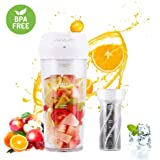 Portable Blender,Personal Blender with Filter for Shakes and Smoothie,Cordless Small Juice Cup Extractor, USB Rechargeable Juicer Detachable Fruit Mixer for Outdoor Travel Office Household Baby Food Maker (White)
