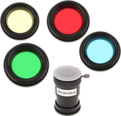 "1.25/"" Barlow Lens Moon Filters Color Filter Kit for Telescope Eyepieces"
