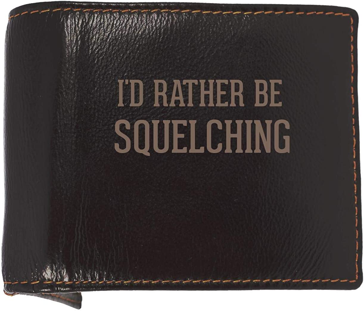 I'd Rather Be SQUELCHING - Soft Cowhide Genuine Engraved Bifold Leather Wallet 61W2Ue1EUIL