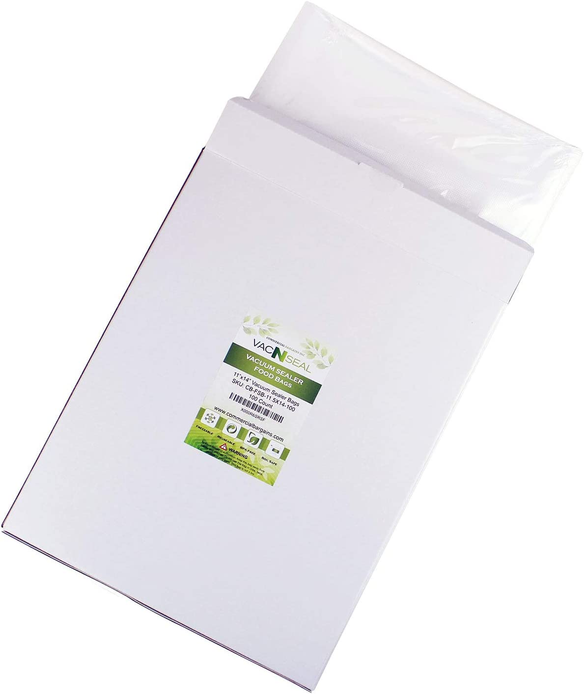 """Commercial Bargains 100 CT 11"""" x 14"""" Vacuum Food Sealer Storage FoodSaver Freezer Bags Gallon Size Sous Vide"""