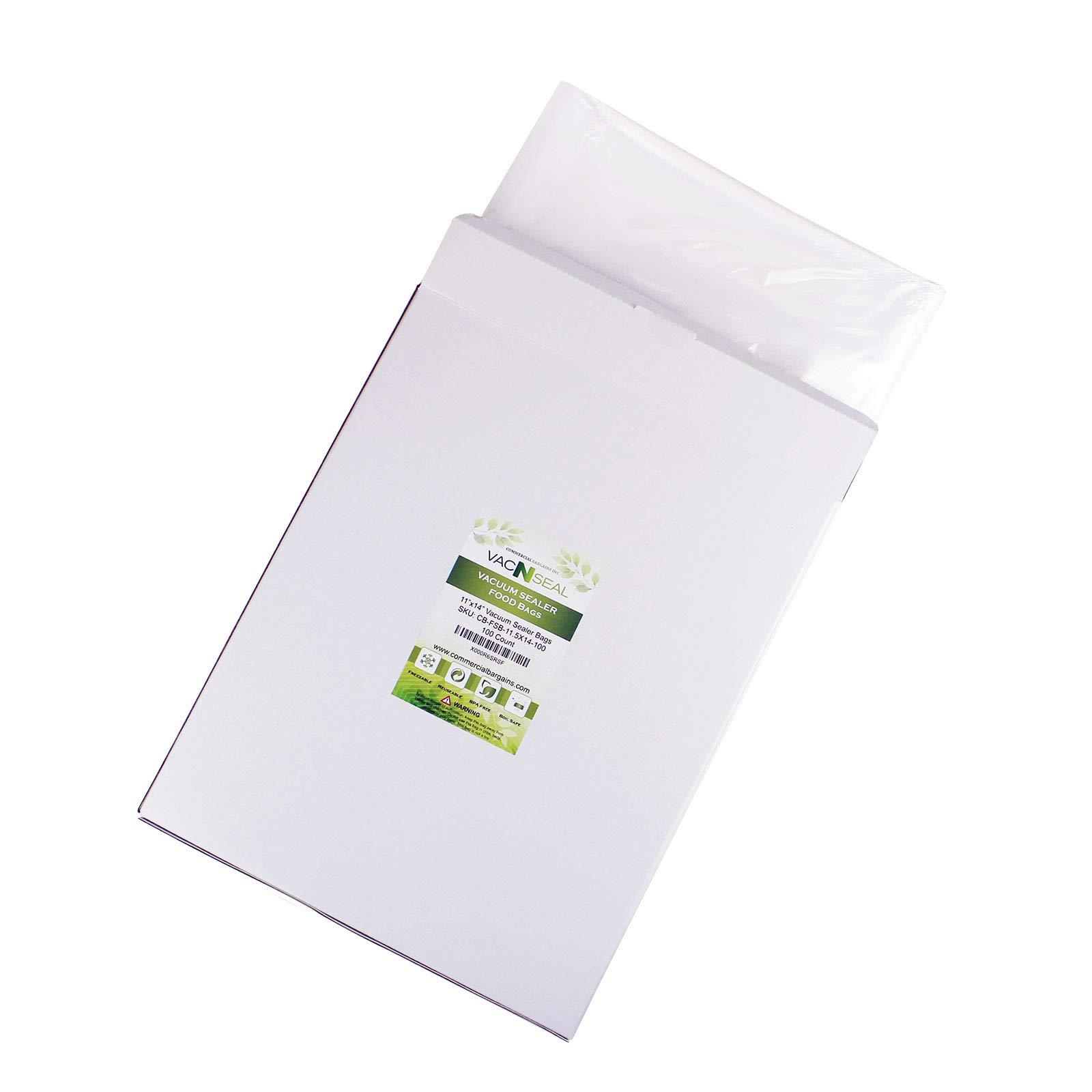 Commercial Bargains 100 CT 11'' x 14'' Vacuum Food Sealer Storage FoodSaver Freezer Bags Gallon Size Sous Vide