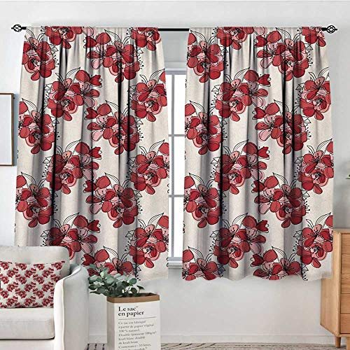 Mozenou Floral Patterned Drape for Glass Door Japanese Culture Cherry Blossom Coming of The Spring Birth of The Nature Bedroom Blackout Curtains 55