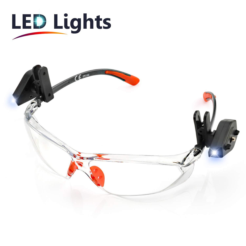 SAFEYEAR Luz LED Gafas Trabajo Protección Ciclismo Hombre Con Lentes Antivaho y Transparente - Gafas Protectoras Seguridad Para Trabajo SG003OR-L Color Negro y Naranja Laboral