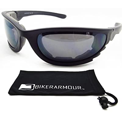 Motorcycle Sunglasses Foam Padded for Larger Head Sizes.