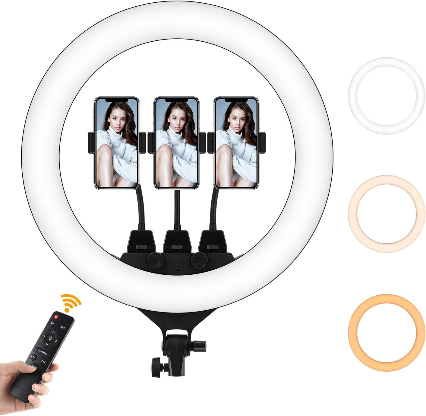 Led Selfie Ring Light Without Tripod Stand - only 18 Inch Ring Light Camera Lamp for iPhone Live Zoom Streaming (Without Tripod, 18 inch Ring Light)