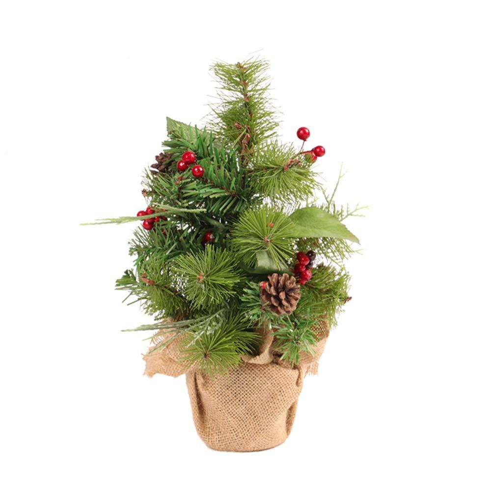 BESTOYARD Tabletop Christmas Tree with Burlap Base Xmas Table Desktop Bonsai Home Party Office Decoration