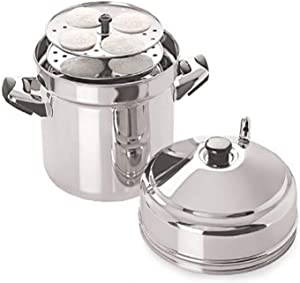 Tabakh IC-206 6-Rack Stainless Steel Idli Cooker with Strong Handles, Makes 24 Idlis,Silver,Large