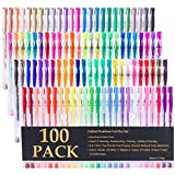 Caliart 100 Gel Pens with Case for Adult Coloring Books Scrapbooking Drawing Writing