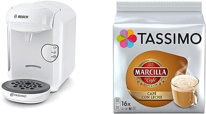 Bosch TAS1402 Tassimo Vivy 2 (color negro) + Pack café 5 paquetes (80 cápsulas) Tassimo Marcilla Café con Leche: Amazon.es: Hogar