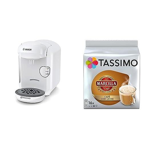 Bosch TAS1404 Tassimo Vivy 2 (color blanco) + Pack café 5 paquetes (80 cápsulas) Tassimo Marcilla Café con Leche