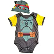 Knitwits  BabyFett Onesie and Hat Bundle Outfit (0-3 Months)