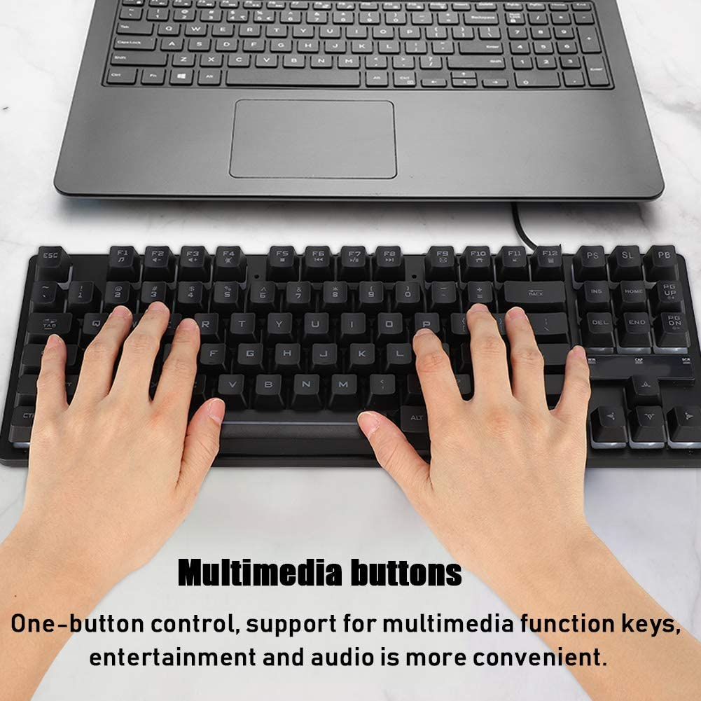 ASHATA Gaming Keyboard K16 87-Key USB Wired Ergonomic Mechanical Feel Gaming Keyboard with Multimedia Key Colorful Backlight for Both Office and Games