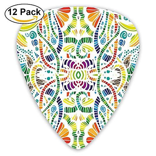 Mosaic Style Embellished Mixed Flower Leaves Stripes Guitar Picks 12/Pack Set