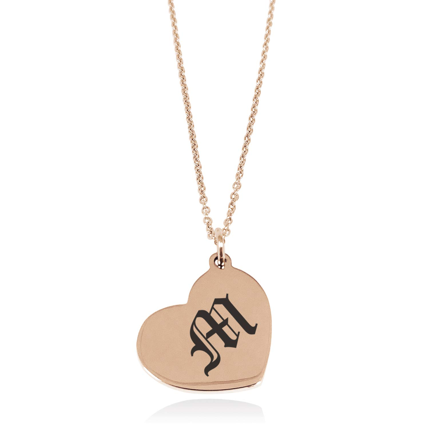 Tioneer Stainless Steel Letter M Initial Old English Monogram Floating Heart Tag Charm Pendant Necklace