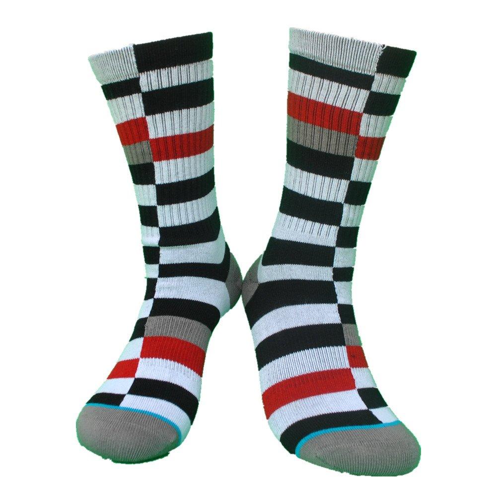 1 Pair) Walking Mountain Athletic Socks-New Spring Style Cotton Fashion Striped Lattice Mens Socks Size US8-12