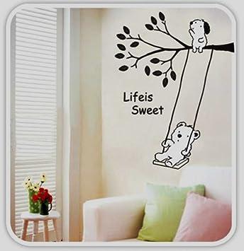 adesivo per decorazione pareti 60x90 cm, orsetto su altalena ... - Decorazioni Pareti Orsetti