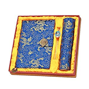 LL-COEUR 3PCS Yunjin Notebook + Peking Opera Bookmark + Gaming Mouse Mat Cloud Brocade Mousepad Embroidery (blue)