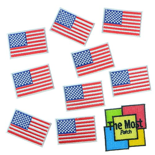 Lot of 11 (10+1) USA American Flag Small Embroidered Iron/Sew On Patch