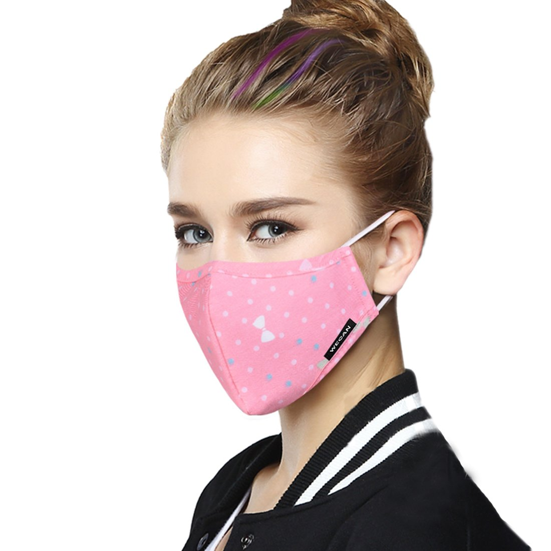 Healthyair Masks Thin Mask Washable Mouth Masks Replaceable Filter (One Mask + 6 Filters) Activated Carbon Filter - Men Black And White Grid (Medium, Women-01)