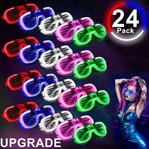 [Updgrade] LED Light Up Glasses,EL Neon Rave Glasses Glow in The Dark Party Favor Supplies for Kid Adult,Glow Sunglasses Shutter Shades Light Up Halloween Costumes Party Birthday Gift]()