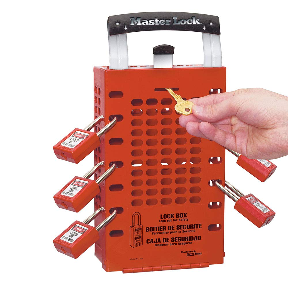 Master Lock 503RED Latch Tight Red Group Lockout Box-Portable or Wall Mount, One-Size