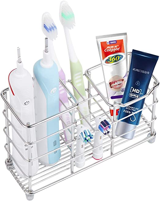 Stainless Steel Wall Mount Stand Toothbrush Holder Dispenser Bathroom Supply CF