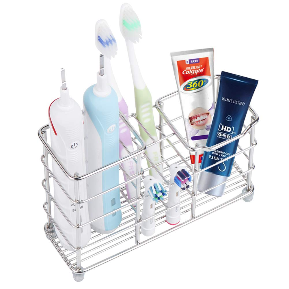 Wimaha Rustproof Toothbrush Holder Stainless Steel Bathroom Storage Organizer Stand Rack, Perfect for Large Powered Electric Spin Toothbrushes, Razor, Comb, Toothpaste, Tooth Powder by Wimaha
