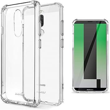Moozy Coque Silicone Transparente pour Huawei Mate 10 Lite - Anti Choc Crystal Clear Case Cover Étui de Flexible Souple TPU