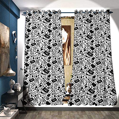 BlountDecor Patterned Drape for Glass Door Blues Jazz Punk Rock Various Type of Folk Indie Rap Reggae Peace Sign Sing Artwork Customized Curtains W72 x L84 Black White
