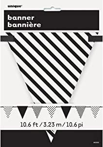 10. 6 ft/ 3.23 m Black Polka Dot and Striped Pennant Banner