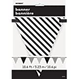 12ft Black Polka Dot and Striped Pennant Banner