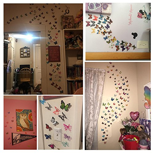 Eoorau 80PCS Butterfly Wall Decals - 3D Butterflies Decor for Wall Removable Mural Stickers Home Decoration Kids Room… 5