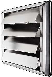 Klimapartner VKE 100 mm Rejilla de Ventilación Aire Externo de Acero Inoxidable del Louvre Láminas: Amazon.es: Bricolaje y herramientas