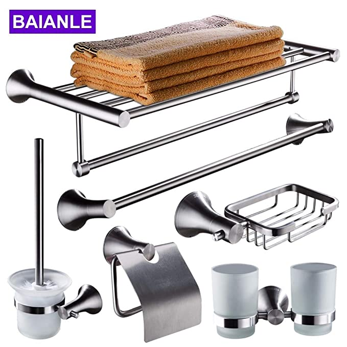 Amazon.com: Best Quality bathroom accessories set stainless steel robe hook, paper holder, soap basket, towel rack bars, toilet brush holder wall mounted: ...