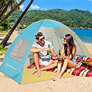 ZOMAKE Pop Up Beach Tent XL for 3-4 Person, Portable Sun Shelter Instant Cabana with UPF 50+ UV Protection for