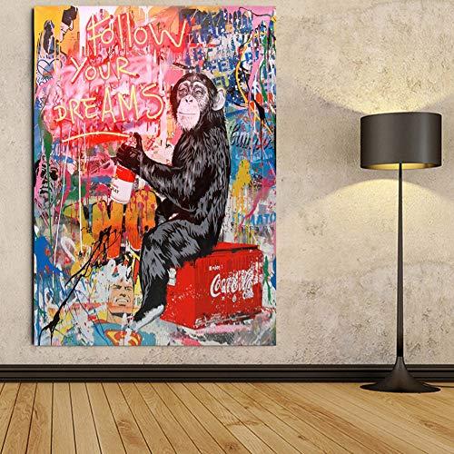 Faicai Art Banksy Graffiti Street Art Paintings Canvas Wall Art Drawing Chimpanzee Fluorescent