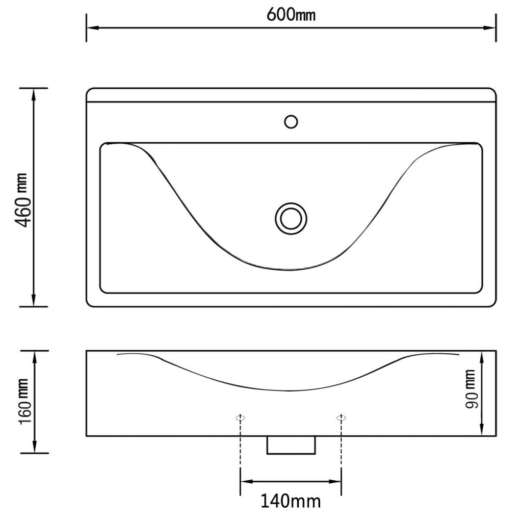 vidaXL Waschbecken Keramik Rechteckig mit Hanhloch Waschtisch Aufsatzbecken