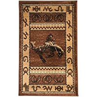 Rugs 4 Less Collection Cowboy Horse Western Cabin Style Lodge Door Mat Area Rug Design R4L 370 (2X3)