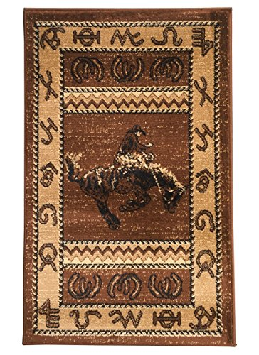 Rugs 4 Less Collection Cowboy Horse Western Cabin Style Lodge Door Mat Area Rug Design R4L 370 (2'X3') (Cowboys Runner Mat)