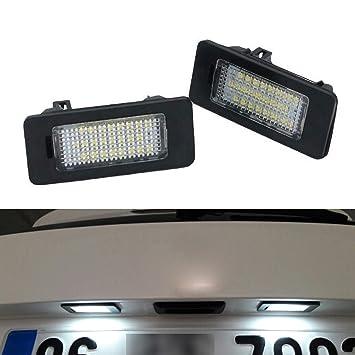 YUGUIYUN Luces de matrícula LED de iluminacion 24 LED SMD Error Free Xenon Blanco Bombilla de