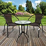 Marko Outdoor 3 & 5 Piece Bistro Set Dark Tan Wicker Rattan Woven Chairs Round Glass Table (3 Piece)