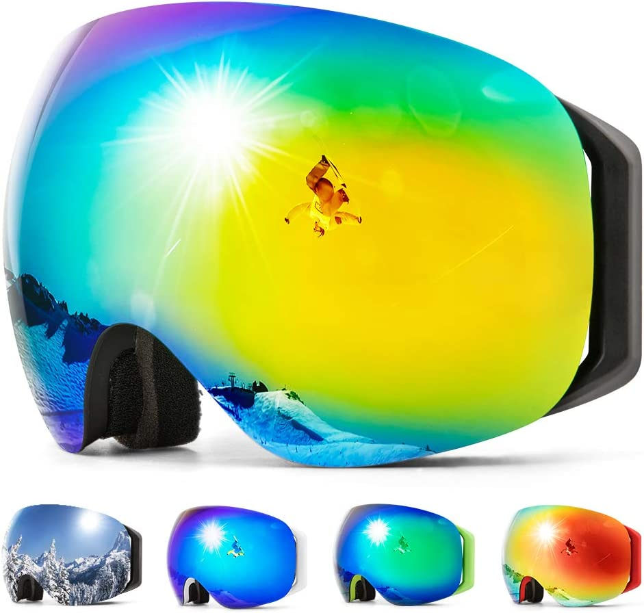 COPOZZ S2 Ski Goggles, Magnetic Snow Snowboard Goggles – Helmet Compatible Over Glasses OTG Design Non-Slip Strap UV400 Protection for Men and Women