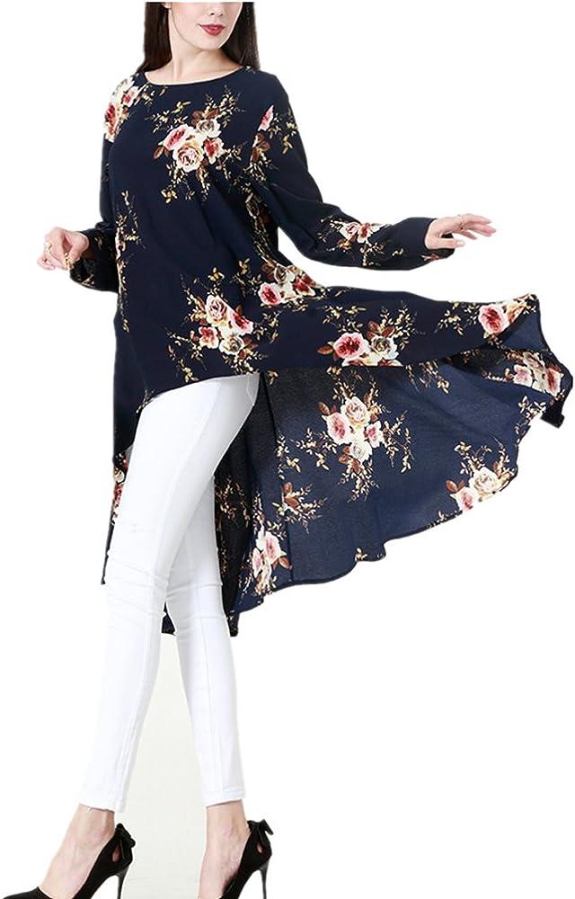 Camisa Larga Estampada Musulmana de Verano, Elegante Maxi Vestido de Gasa Larga Islámica árabe,Azul,S: Amazon.es: Ropa y accesorios