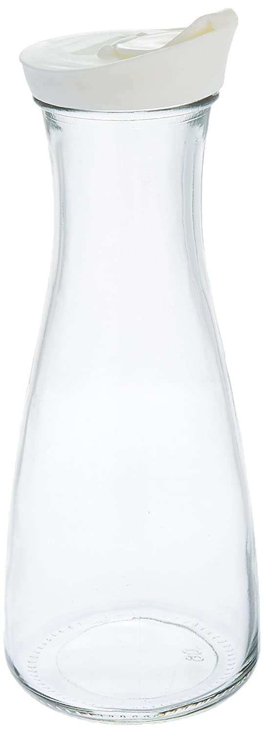 Grant Howard Beverage Glass Carafe and Decanter with White Screw Top, 1 L, Clear
